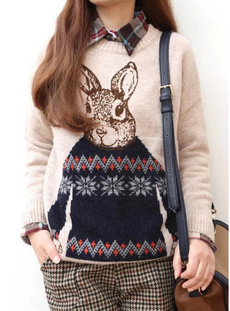 Polyester Round Neck Animal Print Ugly Christmas Sweater