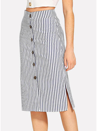 Denim Striped Knee Length Pencil Skirts