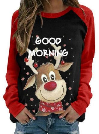 Dyr Figur rund hals Lange ærmer Jule sweatshirt