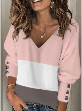 Farbblock V-Ausschnitt Lange Ärmel Laterne Hülse Lässige Kleidung Blusen