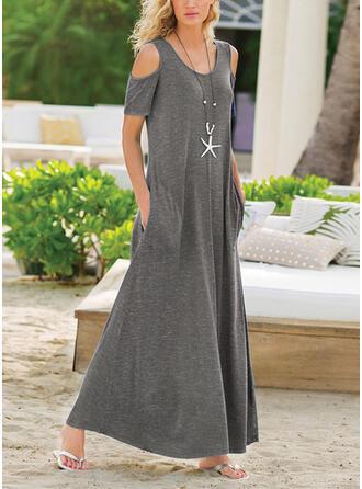 Solid Short Sleeves/Cold Shoulder Sleeve Shift Casual Midi Dresses