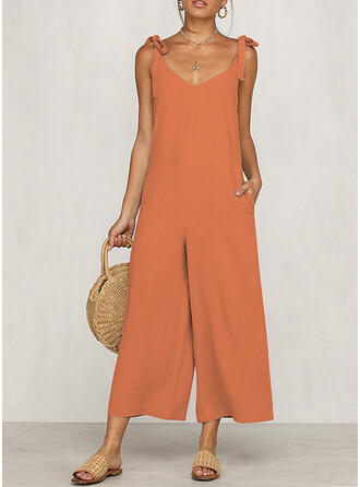 Solid V-Neck Sleeveless Casual Vacation Sexy Jumpsuit