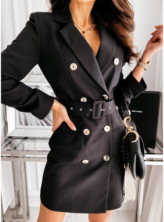 Solid Long Sleeves Sheath Above Knee Little Black/Elegant Dresses