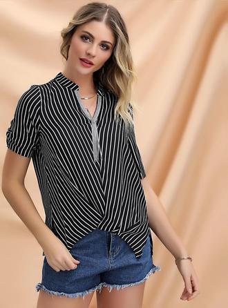 Striped V Neck Short Sleeves Casual Elegant Blouses