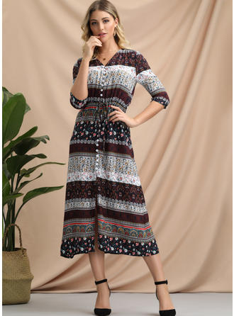 Print/Geometric Print 1/2 Sleeves A-line Midi Casual/Boho/Vacation Dresses