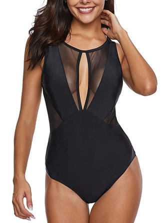 Solid Color Round Neck Fashionable Plus Size One-piece Swimsuits