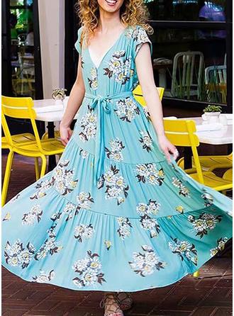 Floral V-neck Maxi A-line Dress