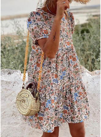 Print/Floral Short Sleeves/Puff Sleeves Shift Above Knee Casual/Vacation Dresses