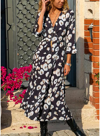 Print/Floral 3/4 Sleeves A-line Casual Maxi Dresses