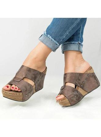 Women's PU Wedge Heel Wedges With Rivet shoes