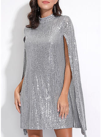 Sequins Long Sleeves/Split Sleeve Shift Knee Length Party/Elegant Tunic Dresses