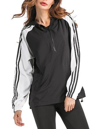Spandex Polyester Striped Capuche