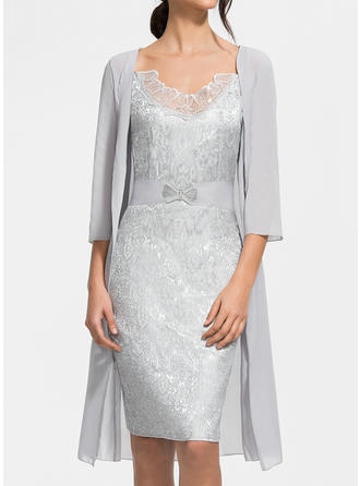 Solid 3/4 Sleeves Sheath Knee Length Elegant Dresses