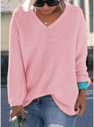 Cotton Blends V-neck Plain Sweater
