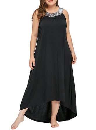 Sequins Round Neck Asymmetrical Shift Dress
