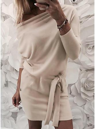 Μονόχρωμο Μακρυμάνικο Κολλητό Πάνω Από Το Γόνατο Καθημερινό Сукні