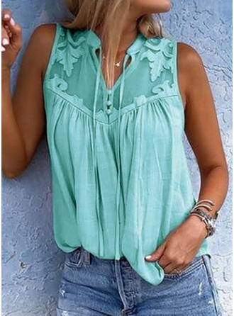 Solid V Neck Sleeveless Button Up Casual Tank Tops