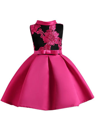 Girls Stand-up Collar Embroidery Bow Cute Party Dress