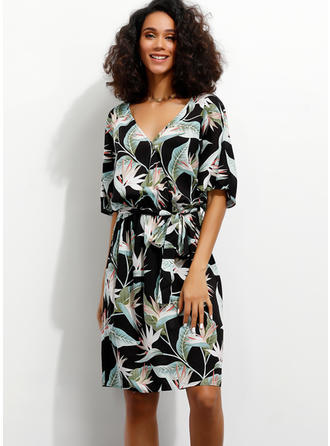 Print/Floral 1/2 Sleeves A-line Knee Length Casual/Vacation Dresses