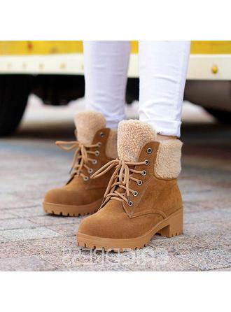 Női Szarvasbőr Chunky sarok Csizma -Val Lace-up cipő