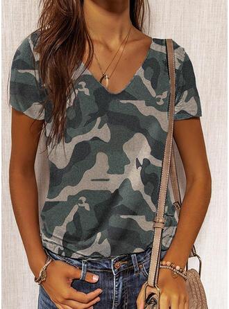 Camouflage V-Neck Short Sleeves T-shirts