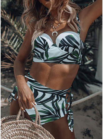 Taille Haute Imprimé Tropical À Bretelles Col V Sexy Bohème Bikinis Maillots De Bain