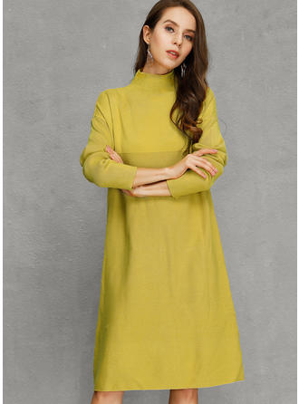 Polyester Col Roulé Couleur unie Robe Pull