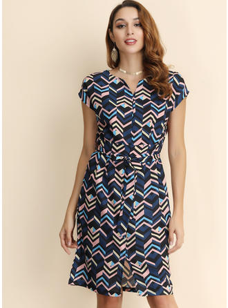 Geometric Print Short Sleeves A-line Knee Length Casual/Elegant Dresses