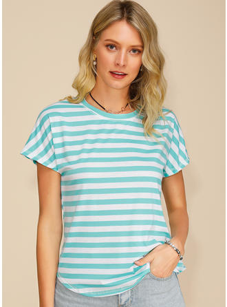 Striped Round Neck Short Sleeves Casual T-shirts