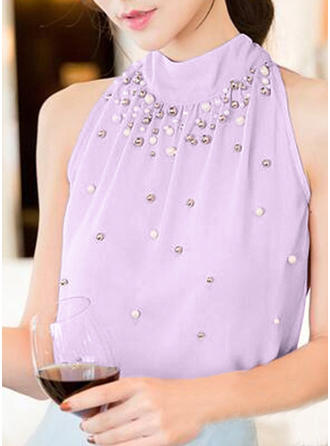 Stand-up Collar Sleeveless Casual Elegant Blouses