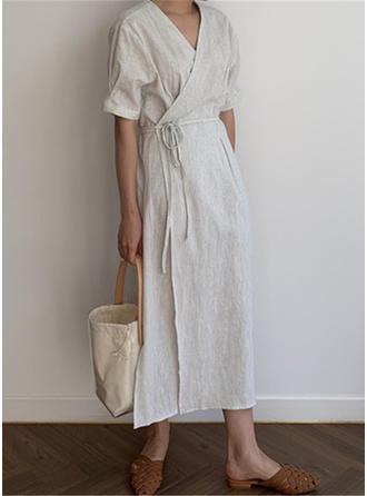 Jednolita Rękawy 1/2 W kształcie litery A Midi Casual Sukienki
