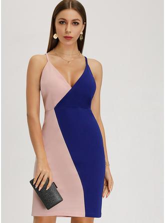 Bloque de color Sin mangas Cubierta Sobre la Rodilla Casual Vestidos