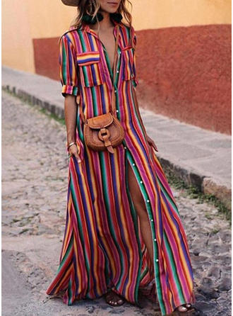 Striped Shirt collar Maxi Shift Dress