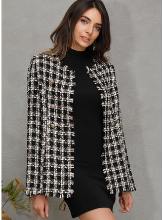 Mohair Long Sleeves Plaid Wide-Waisted Coats Jackets
