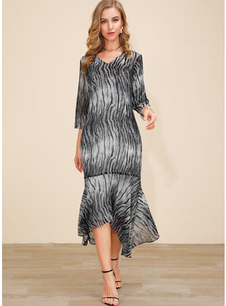 Animal Print 3/4 Sleeves Sheath Asymmetrical Casual Dresses