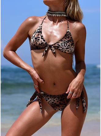 Leopard Halter Sexy Bikinis Swimsuits