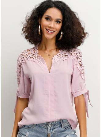 Solid Lace V Neck 1/2 Sleeves Casual Elegant Blouses