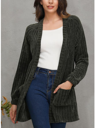 Long Sleeves Plain Cardigans