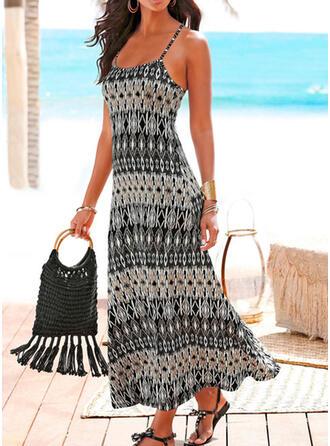 Print Sleeveless Shift Slip Casual/Boho/Vacation Maxi Dresses