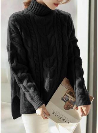 Polyester Col Roulé Couleur unie gros tricot Pulls