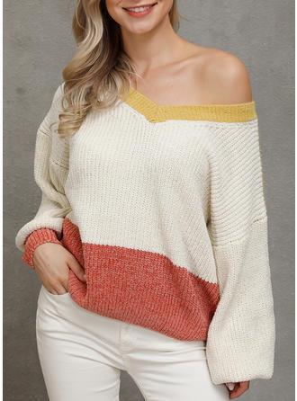 Geblockte Farben V-Ausschnitt Pullover