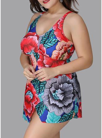 Kwiatowy W prążki Dekolt w kształcie litery V Piękny Duży rozmiar Kąpielówki Stroje kąpielowe