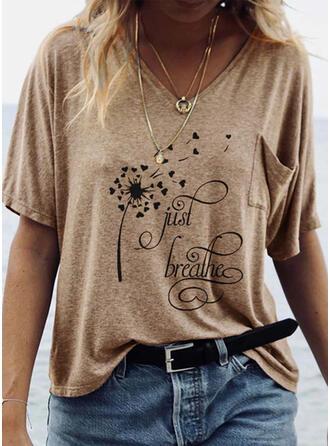 Print V-Neck Short Sleeves Casual T-shirts