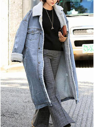 Cotton Long Sleeves Plain Denim Coats