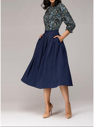 Print 3/4 Sleeves A-line Knee Length Vintage/Casual/Elegant Dresses