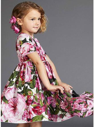 Dziewczyny Okrągły Dekolt Kwiatowy Nieformalny Ładny Sukienka