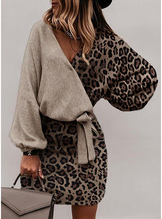 leopardo Maniche lunghe Aderente Sopra il ginocchio Elegante Abiti