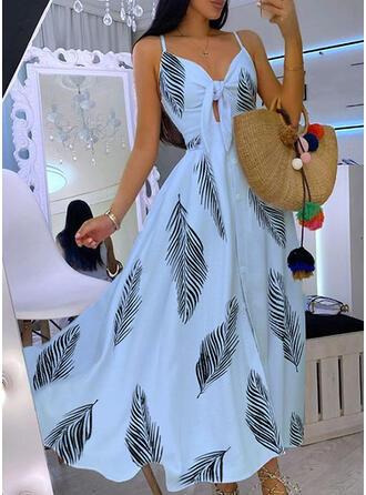 Nadrukowana Bez rękawów W kształcie litery A Halka/Łyżwiaż Przyjęcie Maxi Sukienki