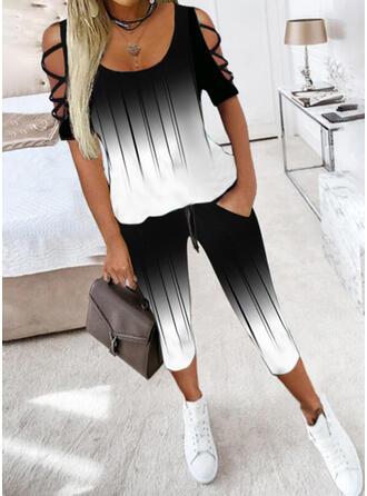 Χρώμα μπλοκ Ανέμελος Plus μέγεθος μπλούζα & Ρούχα Δύο Κομματιών Set ()
