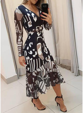 Print Long Sleeves A-line Casual/Elegant Midi Dresses